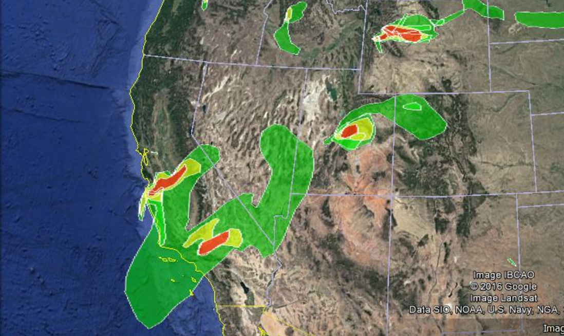 Map showing smoke from California wildfires moveing northeast | Image courtesy of National Oceanic and Atmospheric Administration, St. George News