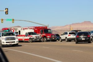 Hurricane Valley Fire District and EMS, Hurricane Police and Washington City Police Department respond to two-car collision in Hurricane, Utah, July 15, 2016 | Photo by Cody Blowers, St. George News
