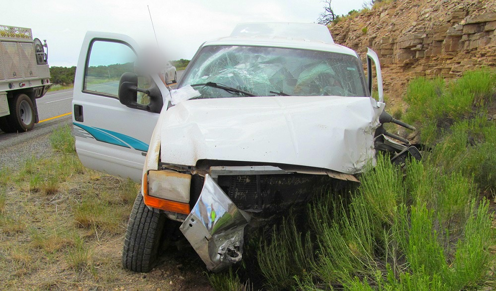 A triple fatal single-car crash occurred on Interstate 70 mile marker 136.6, killing all occupants, near Salina, Utah, June 29, 2016 | Photo courtesy of Utah Highway Patrol, St. George News