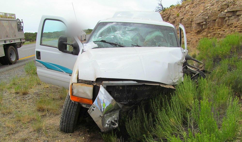 A triple fatal single-car crash occurred on Interstate 70 mile marker 136.6, killing all occupants, near Salina, Utah, June 29, 2016 | Photo courtesy of Utah Highway Patrol, St. George News