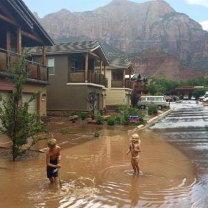 Flooding impacted the area around Zion National Park as a series of powerful storms swept through the area, Springdale, Utah, Aug. 10, 2016 | Photo courtesy of Kellan Cox, St. George News