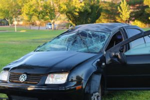 Black Volkswagen Jetta after rollover and foot pursuit in Canyon View Park Sunday, Santa Clara, Utah, Aug. 14, 2016 | Photo by Cody Blowers, St. George News