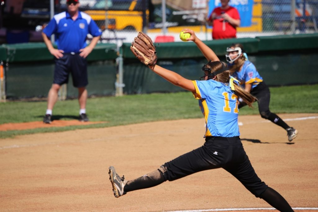 Tyler Mooring came in and pitched well for Snow Canyon, Snow Canyon vs. Canada, Little League Softball World Series, Portland, Ore., Aug. 11, 2016 | Photo by Scott Miller, for St. George News