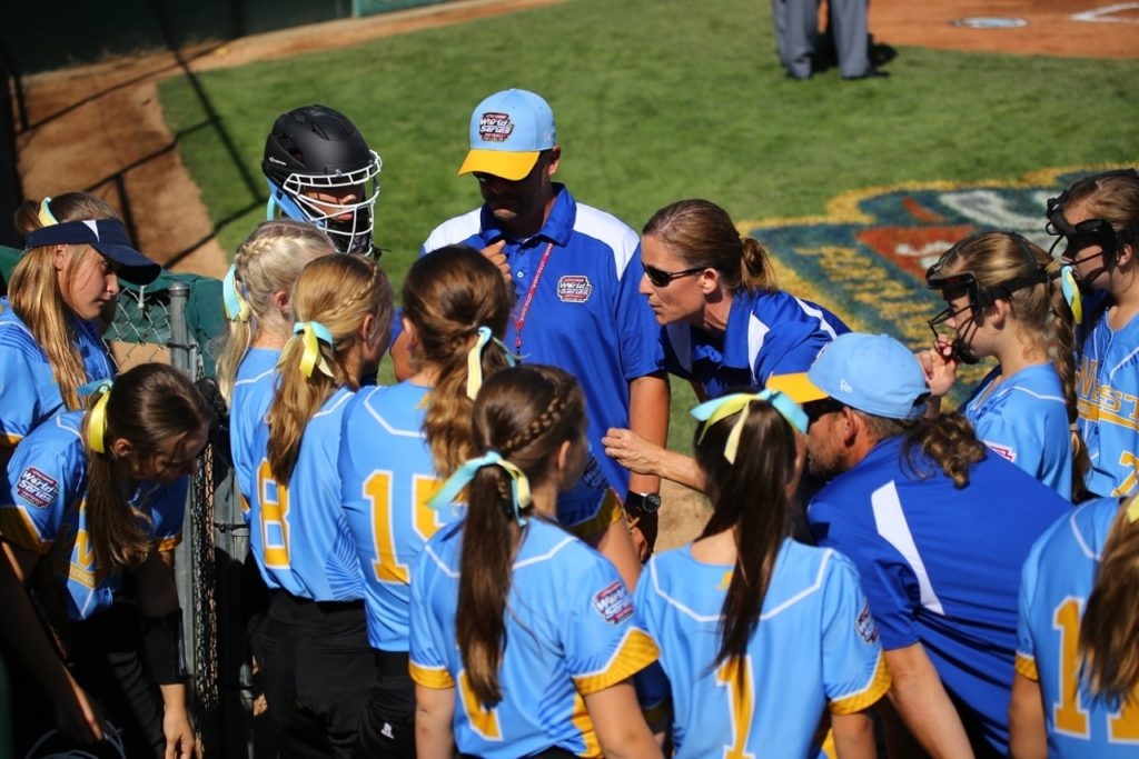 Coach Markay Thorkelson talks with her team, Snow Canyon vs. Canada, Little League Softball World Series, Portland, Ore., Aug. 11, 2016 | Photo by Scott Miller, for St. George News