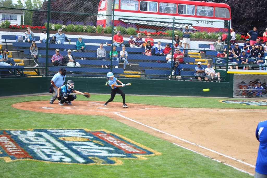 Anyssa Montano at the plate, Snow Canyon vs. Asia Pacific, Little League Softball World Series, Portland, Ore., Aug. 10, 2016 | Photo by Greg Miller, for St. George News