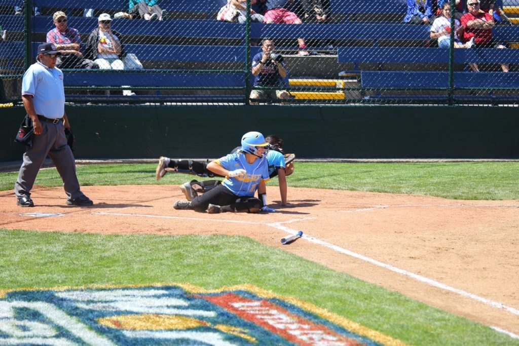 Tyler Mooring scores a run, Snow Canyon vs. Asia Pacific, Little League Softball World Series, Portland, Ore., Aug. 10, 2016 | Photo by Greg Miller, for St. George News