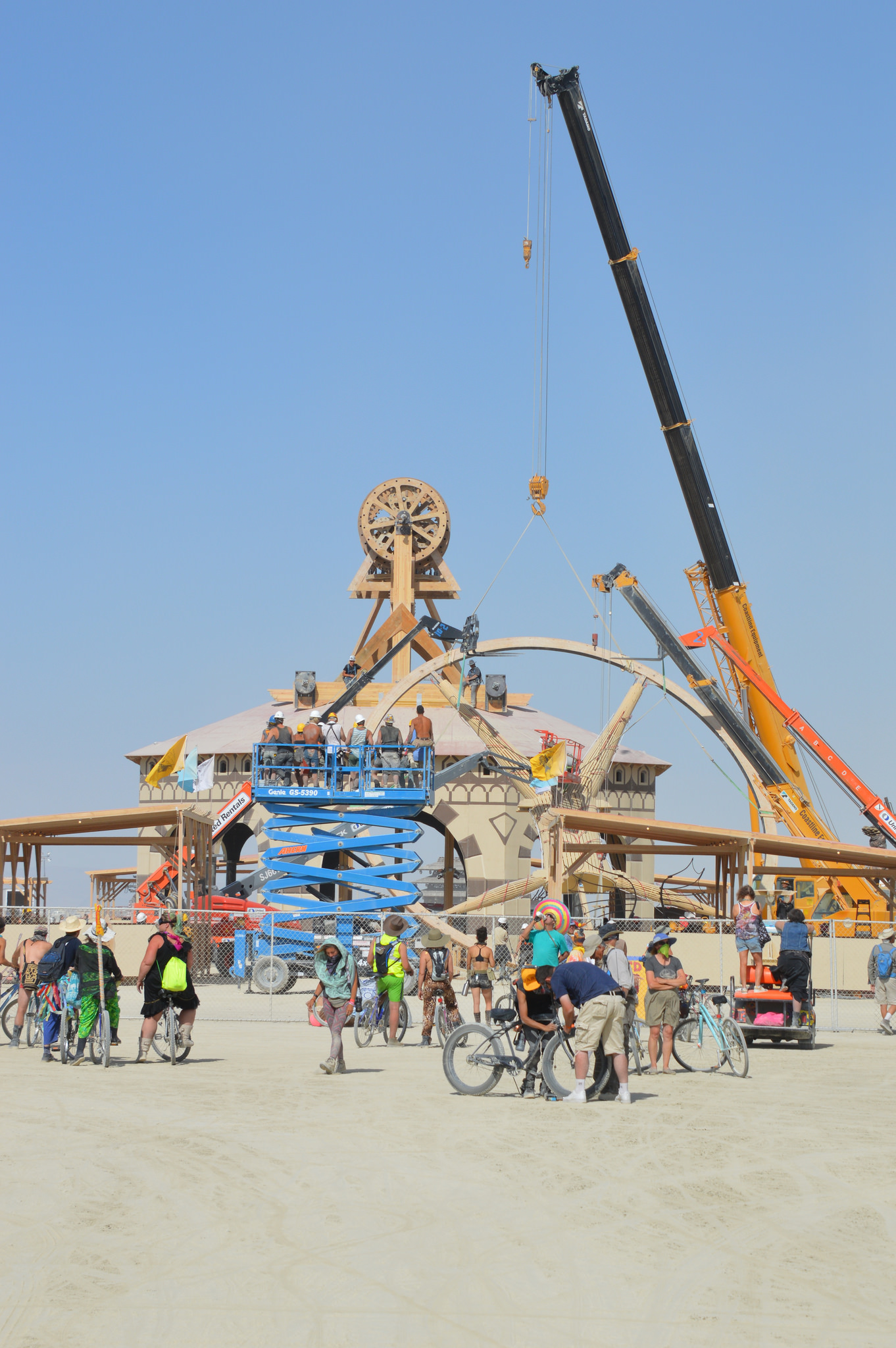Setting up the Man was complicated Sunday by gusty winds. Burning Man event in the the BLM Winnemucca District's Black Rock Desert-High Rock Canyon-Emigrant Trails National Conservation Area, Nevada, Aug. 27, 2016   Photo courtesy of BLM Nevada, St. George News