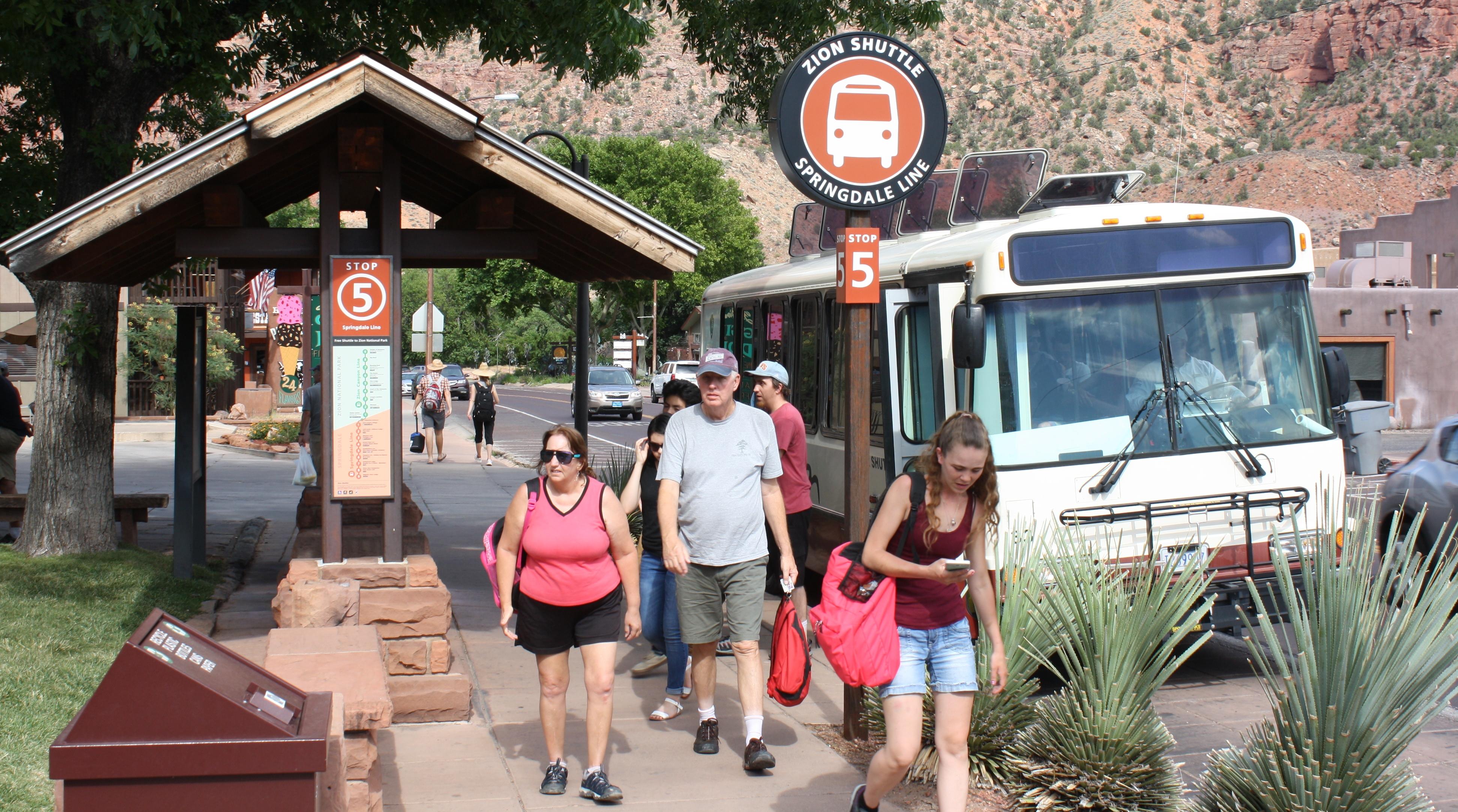 Visitors disembark the Springdale Shuttle, Springdale, Utah, July 20, 2016 | Photo by Reuben Wadsworth, St. George News