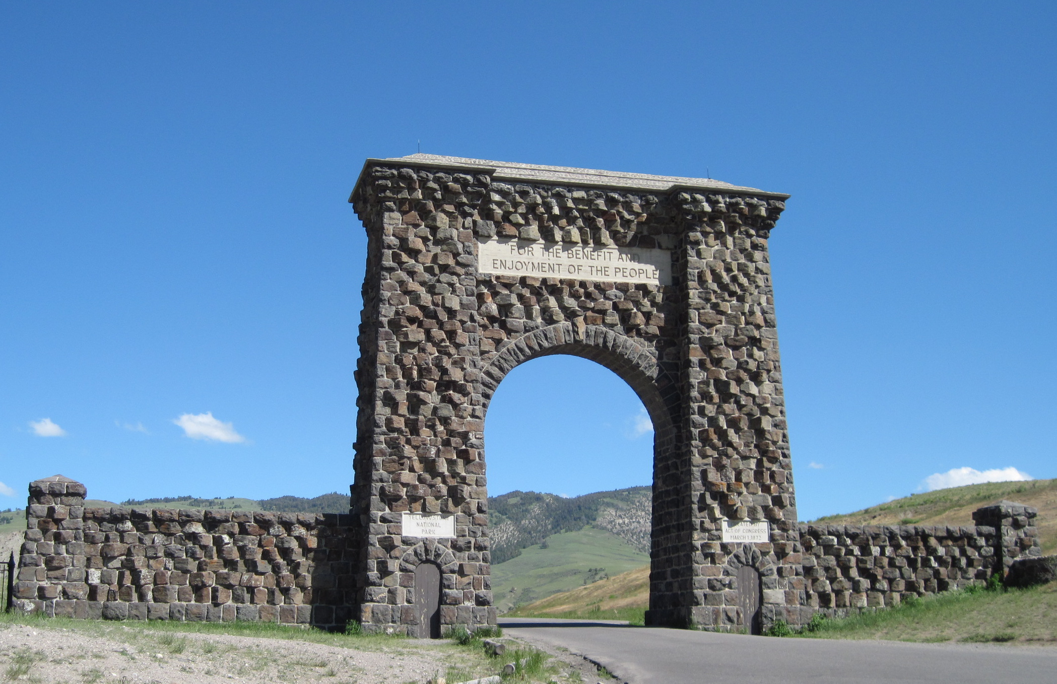 """The Roosevelt Arch at the north entrance of Yellowstone National Park sends a clear message to park visitors, that national parks are """"For the benefit and enjoyment of all people,"""" Yellowstone National Park, Wyoming, June 22, 2009 