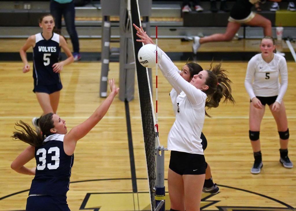 Desert Hills' Charity Bradley (12), Desert Hills vs. Enterprise, Volleyball, St. George, Utah, Aug. 25, 2016, | Photo by Robert Hoppie, ASPpix.com, St. George News