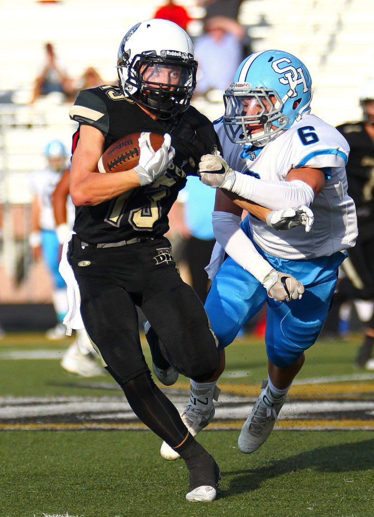 Desert Hills' Bo Barben (13), Desert Hills vs. Salem Hills, Football, St. George, Utah, Aug. 26, 2016, | Photo by Robert Hoppie, ASPpix.com, St. George News