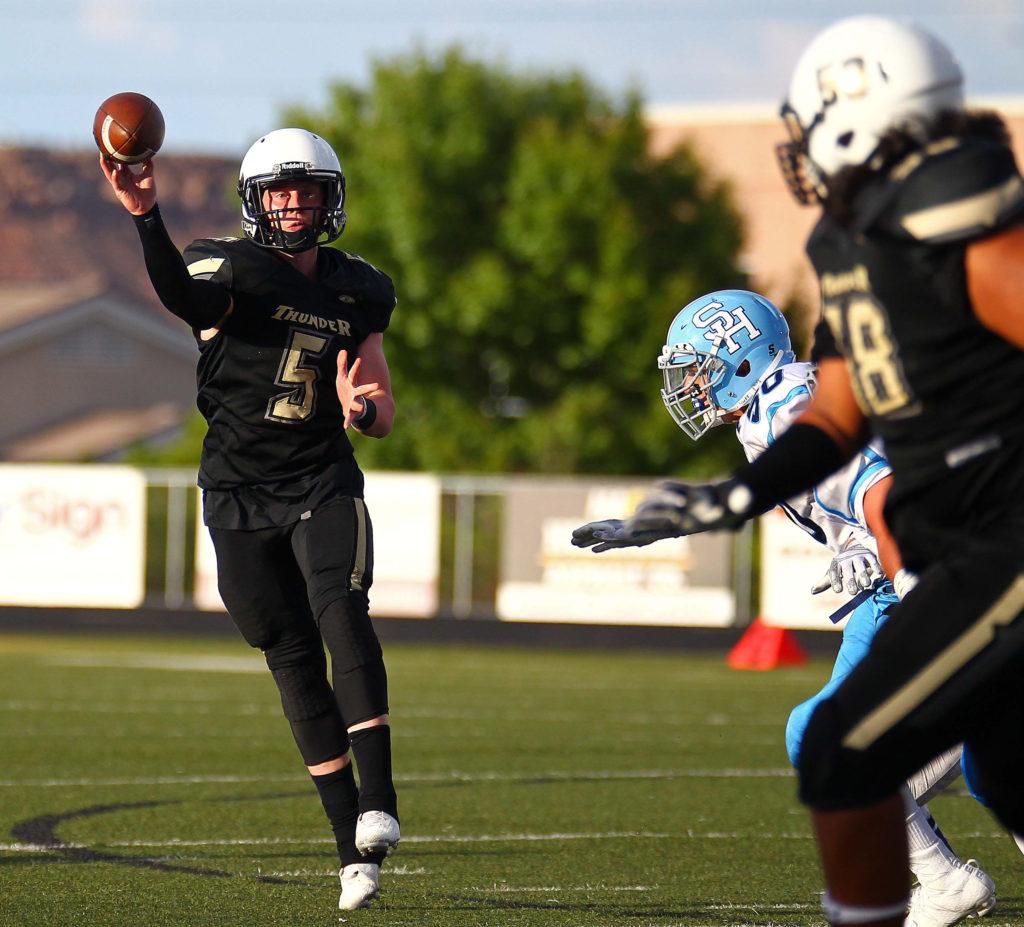 Desert Hills' Quinn Kiser (5), Desert Hills vs. Salem Hills, Football, St. George, Utah, Aug. 26, 2016, | Photo by Robert Hoppie, ASPpix.com, St. George News