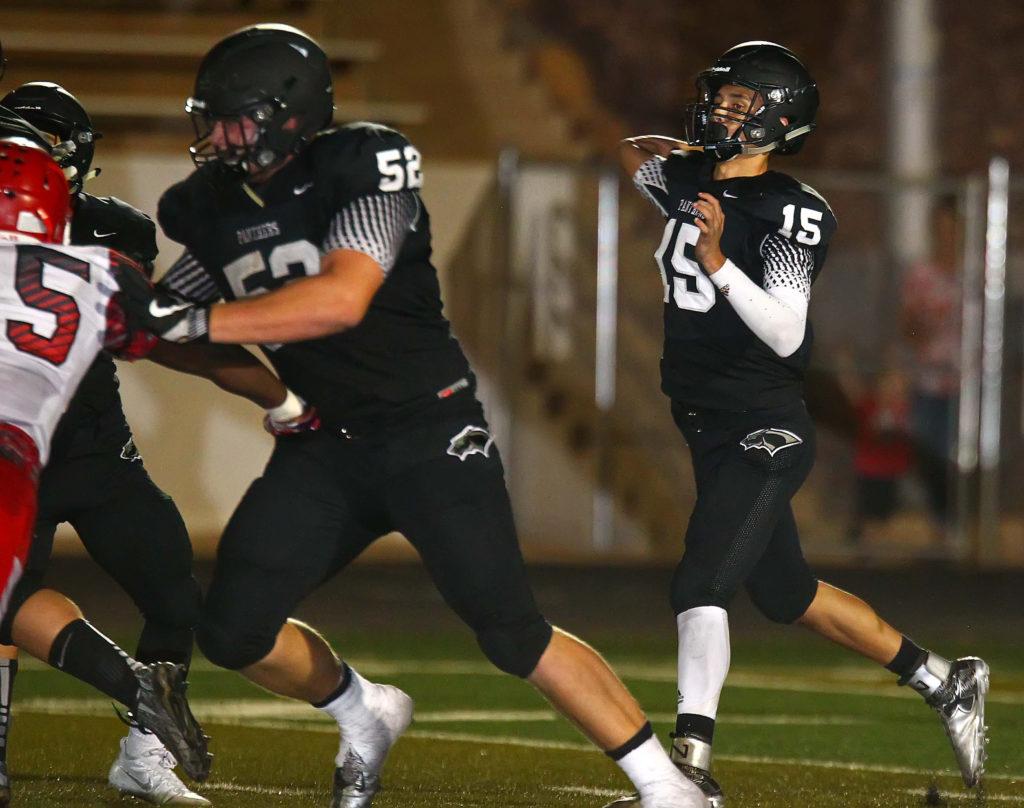 Pine View's Ryan Javines (15), Pine View vs. Uintah, Football, St. George, Utah, Aug. 26, 2016, | Photo by Robert Hoppie, ASPpix.com, St. George News