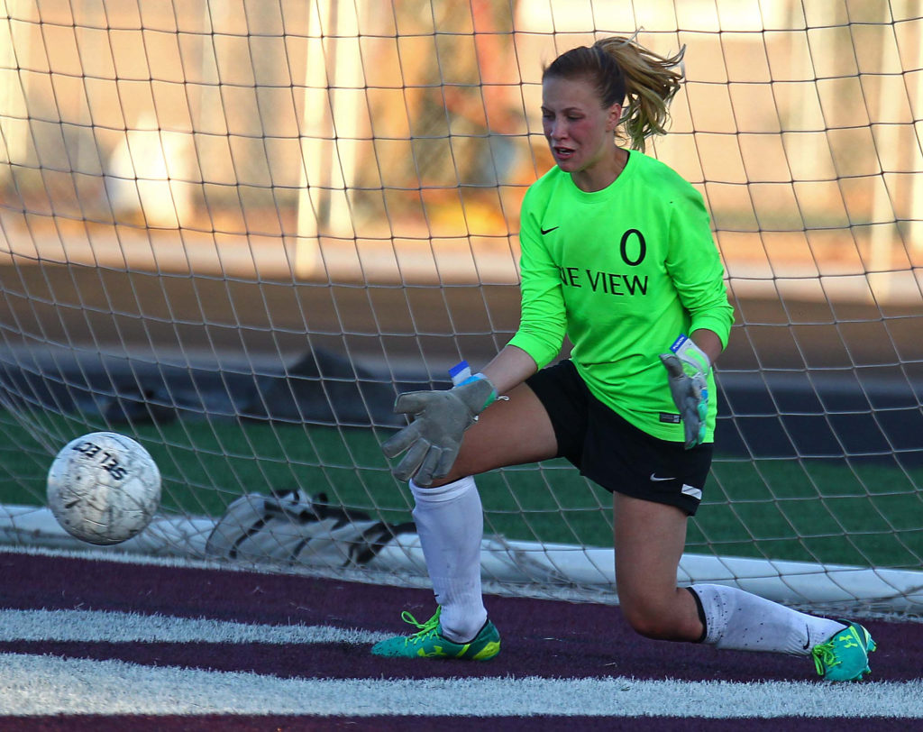 Pine View's Alena Lorentzen (0) got the shutout Thursday, filew photo from Pine View vs. Davis, Girls Soccer, Aug. 11, 2016, | Photo by Robert Hoppie, ASPpix.com, St. George News