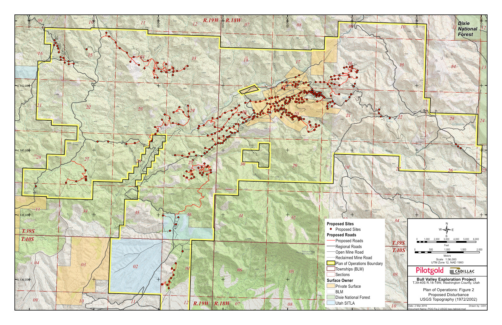 Map of proposed drill sites and new roads in the Bull Valley Exploration Project | Image courtesy of Bureau of Land Management, St. George News