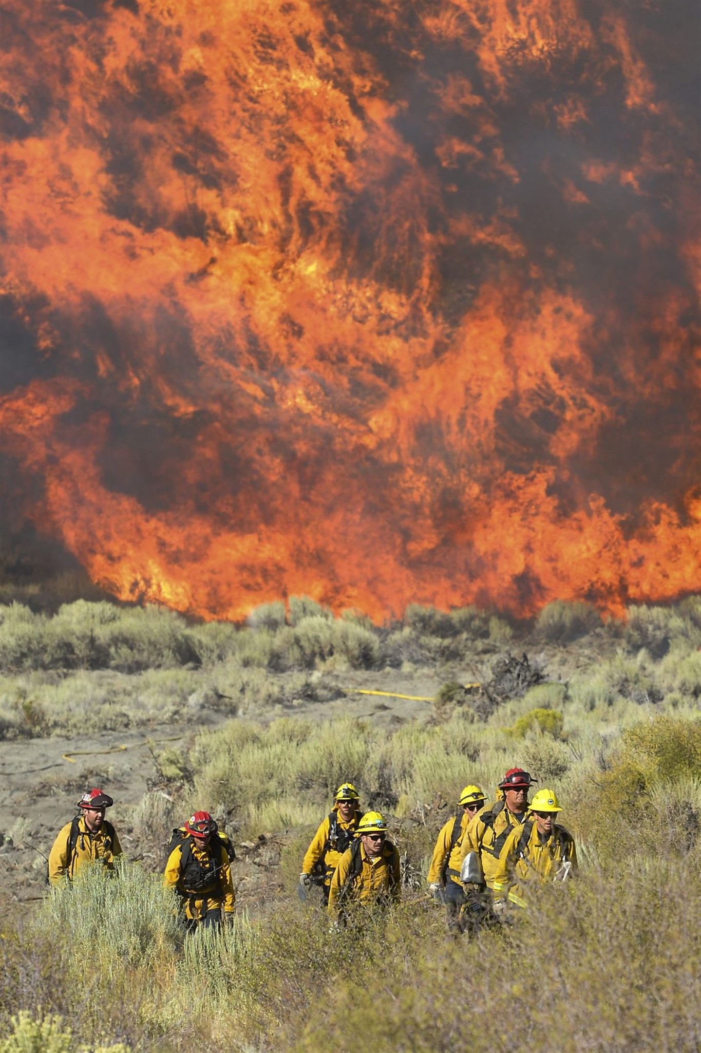 In this Wednesday, Aug. 17, 2016 photo, firefighters scramble from flames after a wildfire blew up near Zermatt Drive and Pacific Crest in Wrightwood, Calif. As flames overtook the pine forests surrounding Wrightwood, only half of the residents in this picturesque mountain town heeded the evacuation orders. Californians are increasingly ignoring the orders, growing accustomed to wildfires as the region faces what could be the most hazardous season yet. | Photo by David Crane/Los Angeles Daily News via AP; St. George News