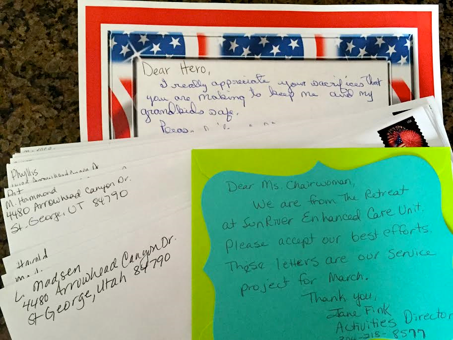 Handwritten letters for active military personnel are collected by the DAR, location and date not specified | Photo courtesy of Valerie King, St. George News