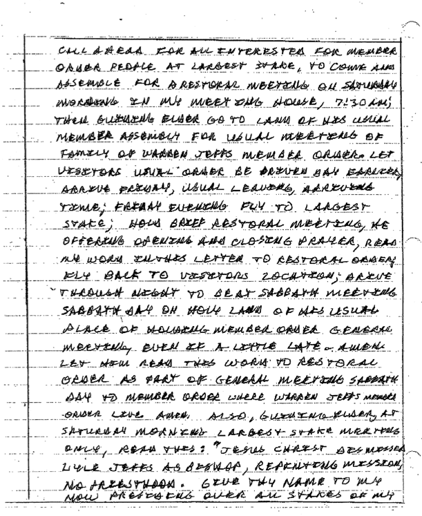 Excerpt from Warren Jeffs letter 1