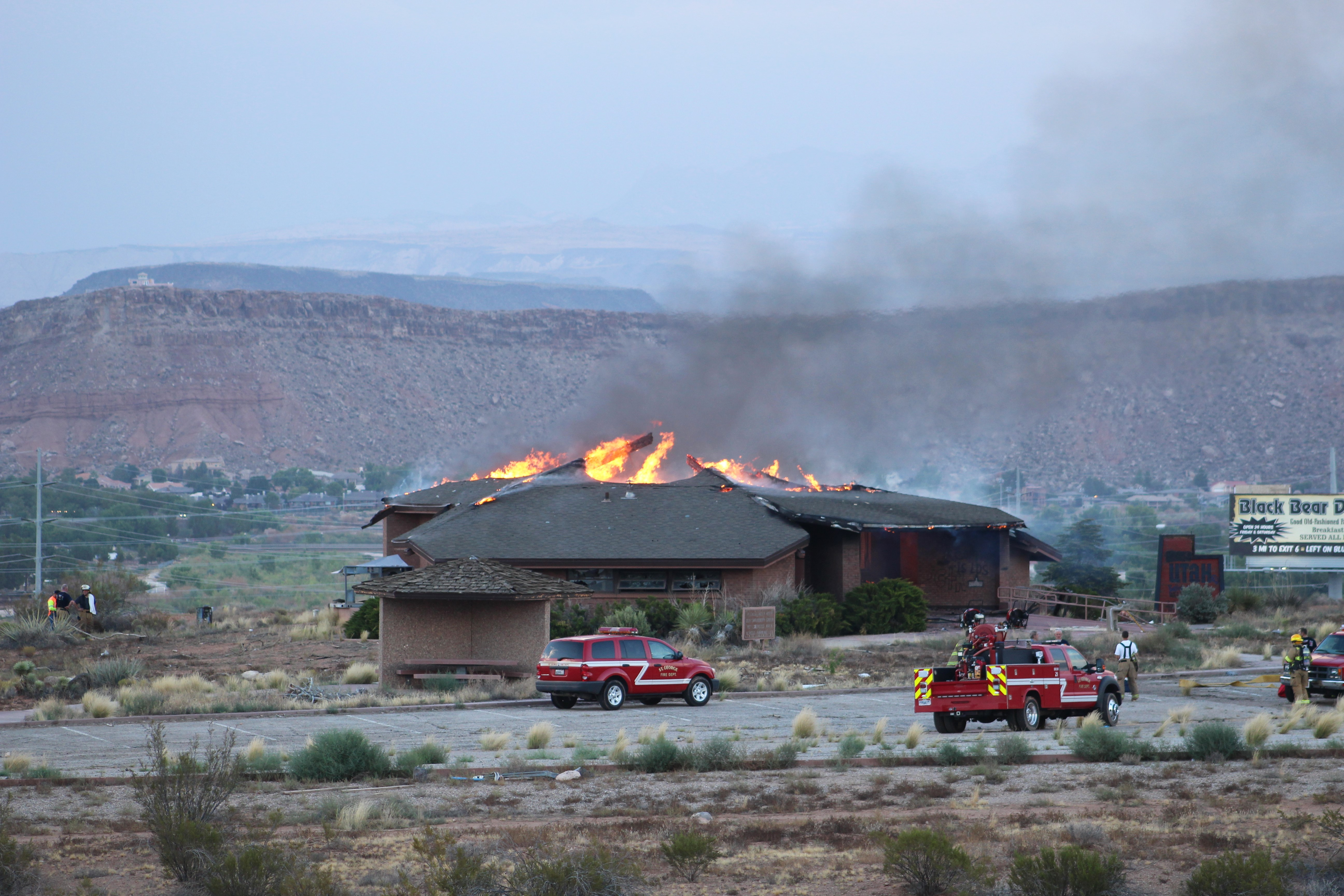 Soon after firefighters arrive at reported fire at the former State of Utah Visitor Information Center, St. George, Utah, July 31, 2016 | Photo by Cody Blowers, St. George News