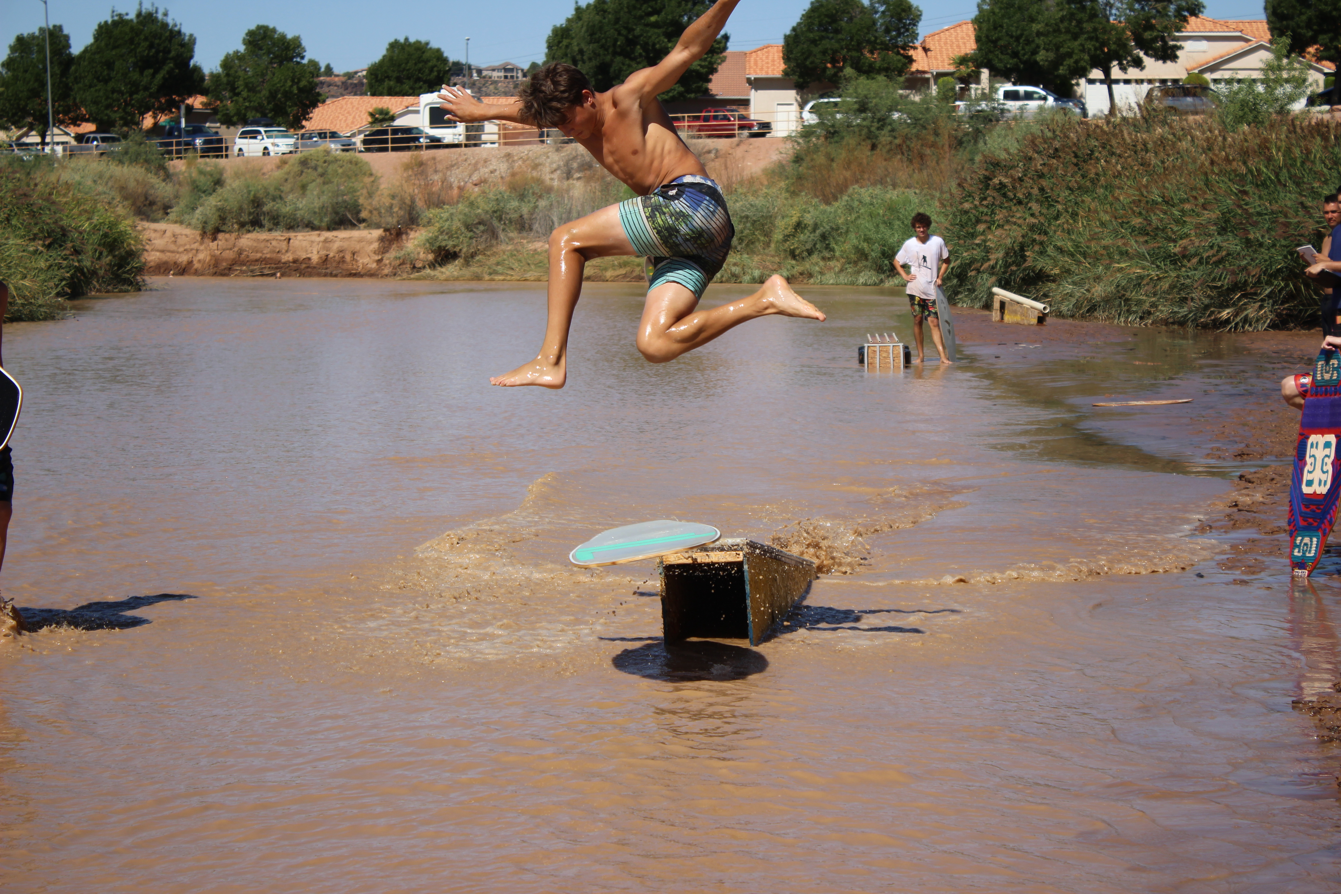 During the 1st Annual Skimapalooza skimboarding competition, a competitor gets some serious air while attempting a trick, St. George, Utah, Aug. 13, 2016 | Photo by Don Gilman, St. George News