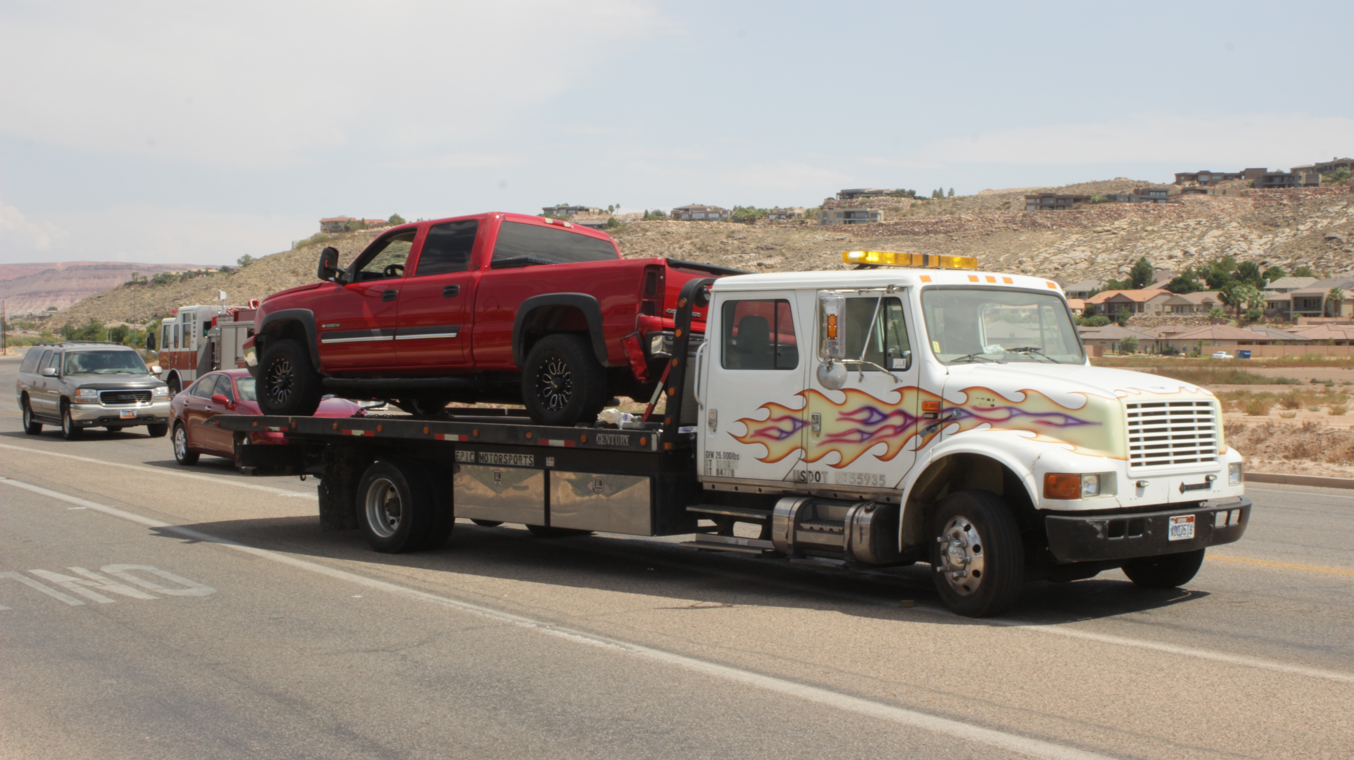 A collision between a Chevy Cobalt and a Chevy Silverado caused substantial damage to both vehicles. The driver of the Cobalt was cited for failure to yield, St. George, Utah, Aug 18, 2016 | Photo by Don Gilman, St. George News