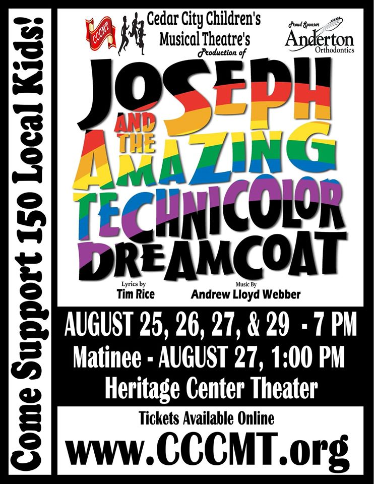 "Cedar City Children's Musical Theatre presents ""Joseph and the Amazing Technicolor Dreamcoat,"" Cedar City, Utah, date not specified 