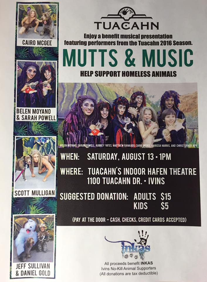 """Flyer for """"Mutts and Music"""" benefit concert in Ivins, Utah, date not specified 