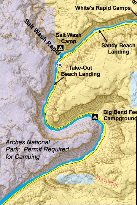 A screenshot of the Moab Daily Map showing the area of Big Bend on the Colorado River in Utah | Photo courtesy of the Bureau of Land Management, St. George News