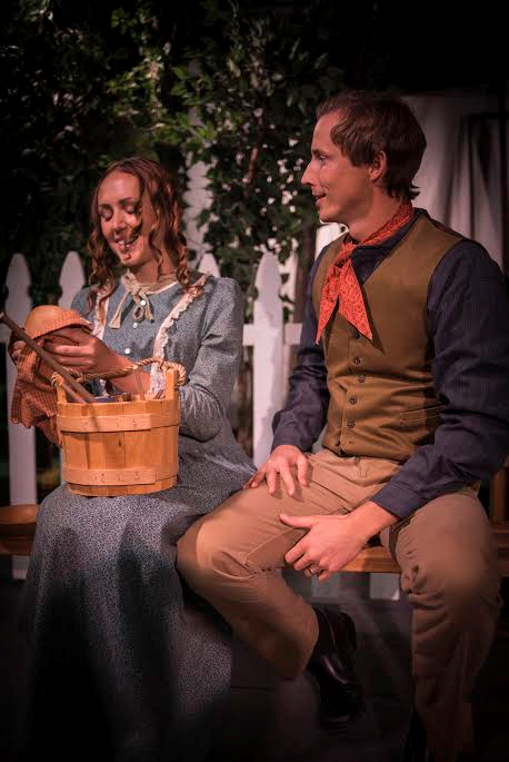 """L-R Paige Allred as Emma Smith and T.J. Dick as Joseph Smith in Brigham's Playhouse's """"Joseph Smith: Praise to the Man,"""" Washington City, Utah, date not specified 
