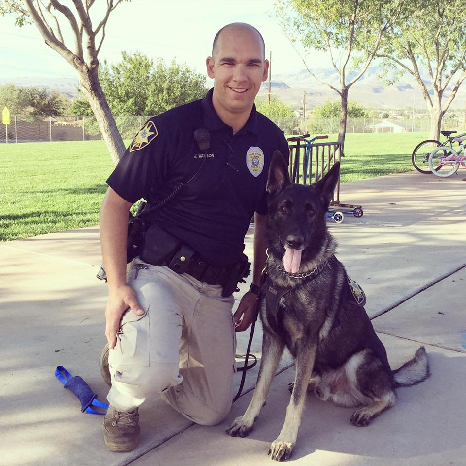 St. George Police Officer Joe Watson and his K-9 counterpart, Officer Rossko, photo location and date unspecified   Photo courtesy of Officer Joe Watson, St. George News