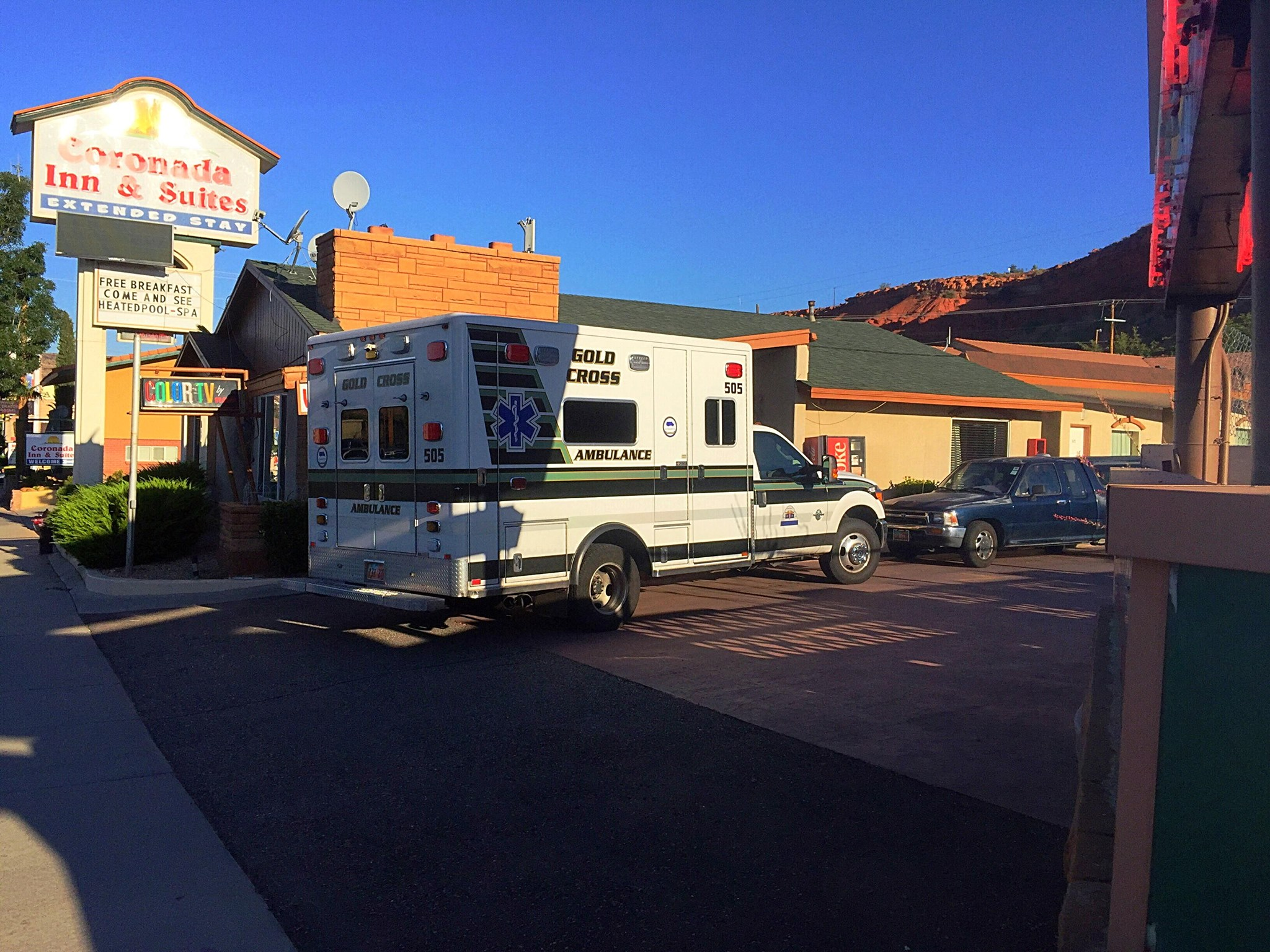 A 7-year-old boy with autism was discovered at the bottom of the Sands Motel swimming pool, 581 E. St. George Blvd., after he had been reported missing from a room at a nearby motel, St. George, Utah, Aug. 8, 2016 | Photo by Kimberly Scott, St. George News