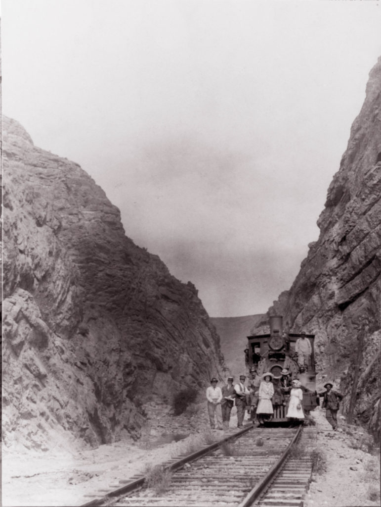 Train comes through a gorge, location and date not specified | Photo courtesy of Lincoln County Nevada Historical Association, St. George News