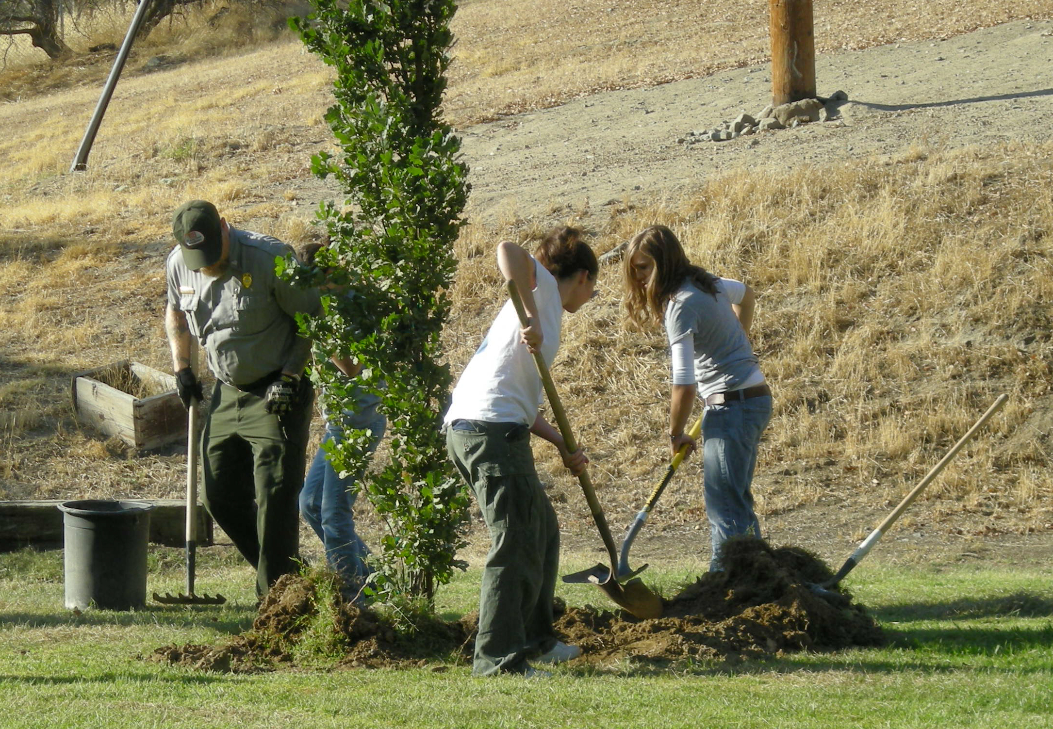 Volunteers plant a tree for National Public Lands Day, Pine Flat Lake, California, Sept. 26, 2009 | Photo courtesy of United States Army, St. George News