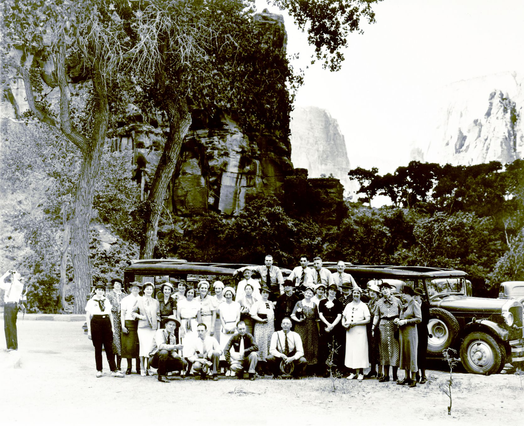 One of the suggestions from the park's collaboration efforts with local stakeholders is to return to what was done in the past - bus tours of Zion like the ones the Utah Parks Company did for guests arriving by rail in the 1920s and 1930s. In this picture, Utah Parks Company employees pose by buses at the Temple of Sinawava in 1930, Zion National Park, 1930 | Photo courtesy of Zion National Park, St. George News