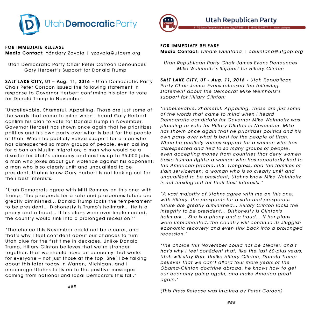 Press releases from the Utah Democratic and Republican parties issued following Gov. Gary Herbert's announcing he intends to vote for Donald Trump in November. | Image courtesy of the Utah Democratic Party, St. George Ness