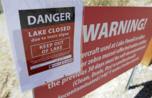 This July 20, 2016, file photo, a A danger lake closed sign is shown at Utah Lake, near American Fork, Utah. Scientists from the U.S. Geological Survey will study how nutrient levels contribute to algae bloom outbreaks on the heels of this summer's massive algae bloom that closed Utah Lake, sickened people and left farmers scrambling for clean water during some of the hottest days of the year | Photo courtesy of Rick Bowmer, via AP, St. George News