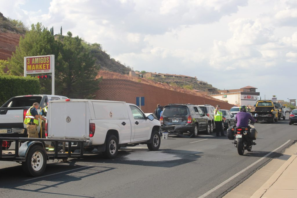 Four vehicles involved in two collisions on Bluff Street Thursday, St. George, Utah, Aug. 25, 2016 | Photo by Cody Blowers, St. George News