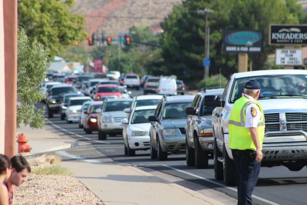 A backup as far as the eye can see in the aftermath of two collisions that happened seconds apart on Bluff Street Thursday, St. George, Utah, Aug. 25, 2016 | Photo by Cody Blowers, St. George News