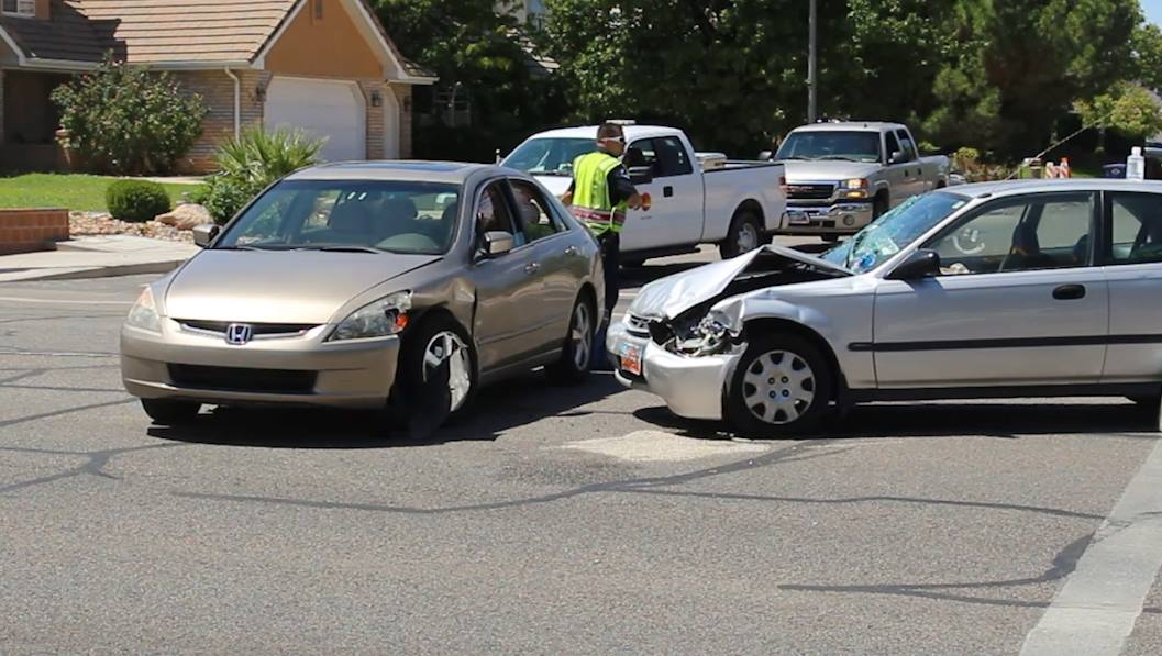 Two cars collided at River Road and St. James Place Tuesday. St. George, Utah, Aug. 16, 2016 | Photo by Mike Cole, St. George News