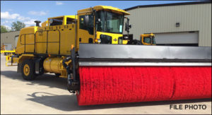 Truck with 18-foot mounted broom, Photo provided by M-B Companies, Inc. website, St. George News