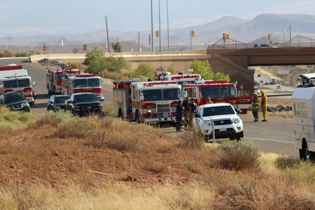 Large-scale emergency response illustrated by long line of trucks and other emergency vehicles lined up, State of Utah Visitor Information Center, St. George, Utah, July 31, 2016 | Photo by Cody Blowers, St. George News