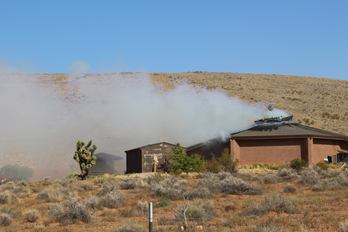 Soon after firefighters arrive at reported fire at the State of Utah Visitor Information Center, St. George, Utah, July 31, 2016 | Photo by Cody Blowers, St. George News