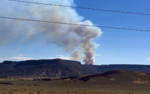 Little Creek Fire burns into Sunday night near Little Creek Mesa, Washington County, Utah, Aug. 13, 2016 | Photo courtesy of Cathy Eberhart Barber, St. George News