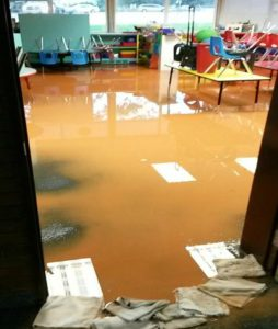 Classroom in elementary school filling with water during heavy storm Wednesday, Kanab, Utah, Aug. 3, 2016 | Photo courtesy of Laurie Hulet, St. George News