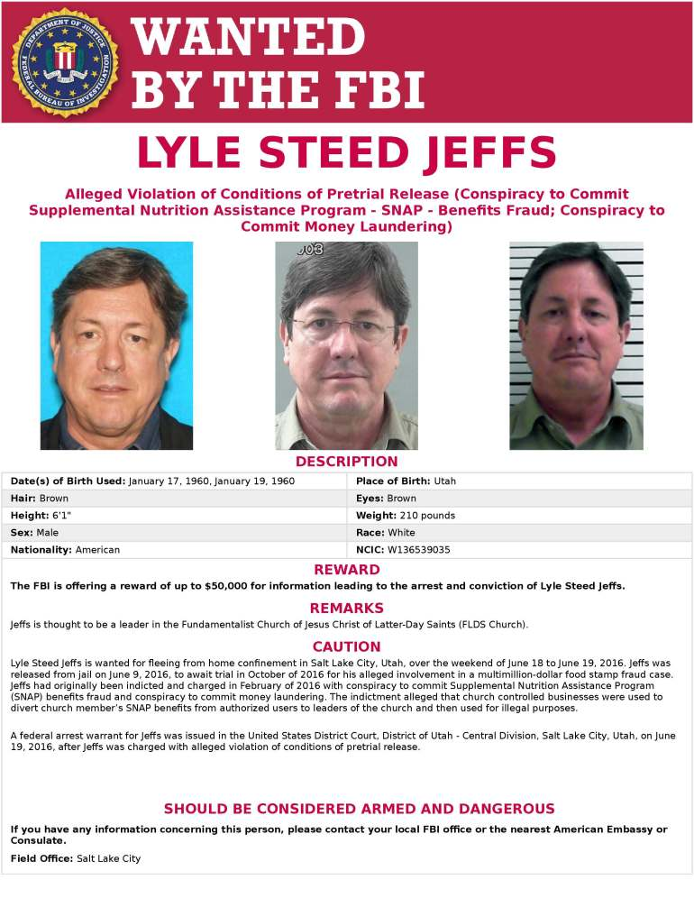 $50K reward for capture of fugitive polygamist Lyle Jeffs
