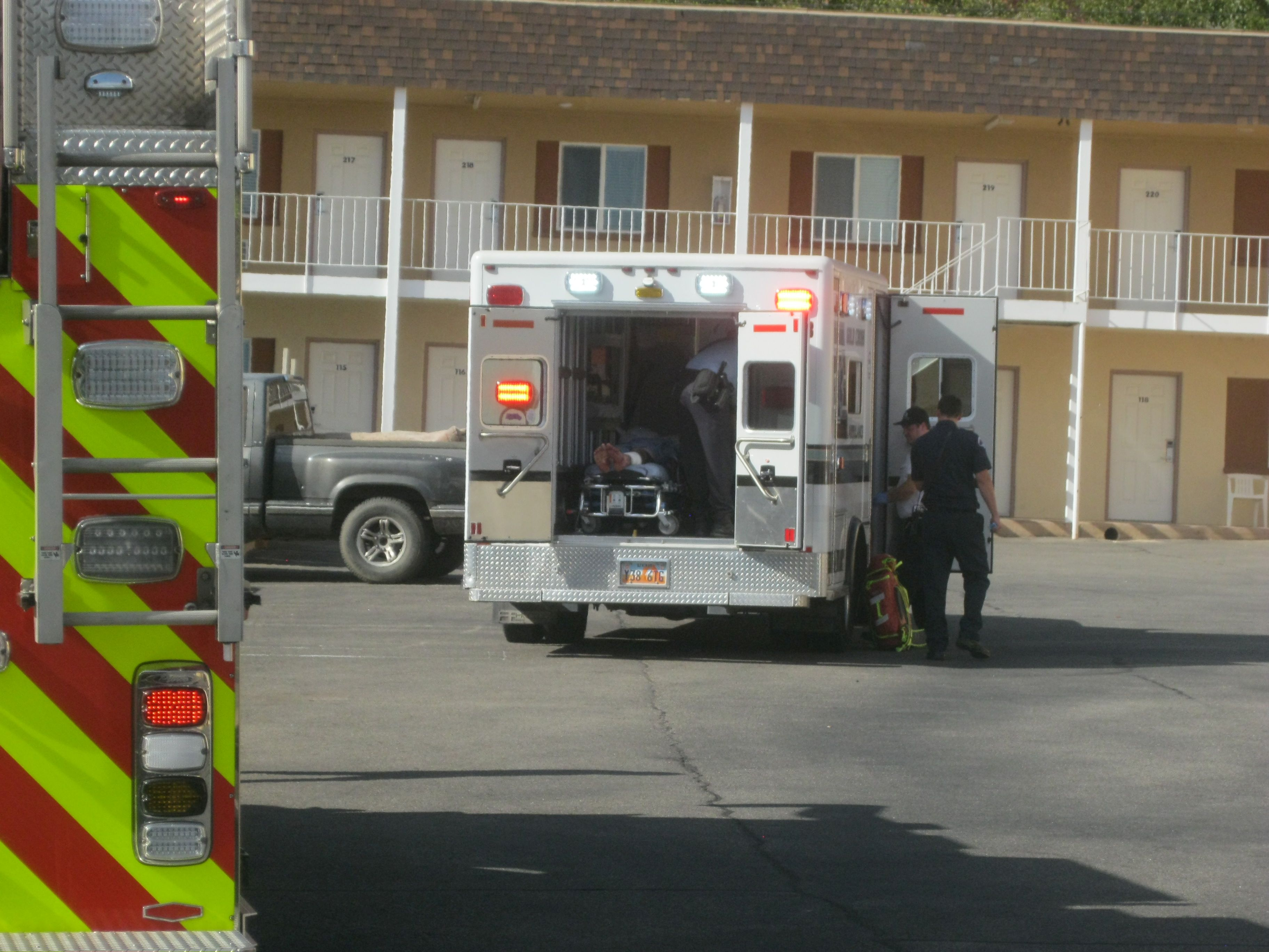 A man has been taken to Dixie Regional Medical Center in St. George after leaving his hotel room naked and bleeding. St. George, Utah, Aug. 31, 2016   Photo by Ric Wayman, St. George News