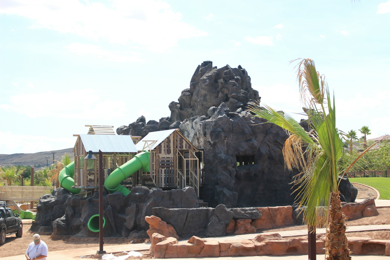 booming volcano roaring dinosaurs all abilities park nears at the all abilities park in st george work on the park is set