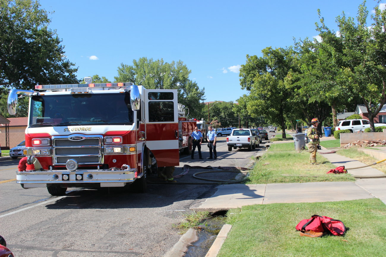 Firefighters responded to a small electrical fire at a home Main Street. The fire was quickly put out and damage to the home was minimal, St. George , Utah, Aug. 16, 2016   Photo by Mori Kessler, St. George News