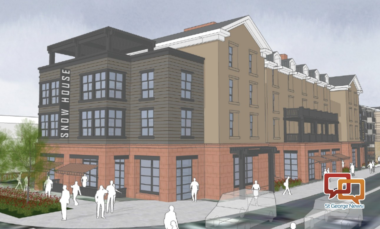 "A rendering of the proposed ""Snow House"" hotel as it would be seen from Main Street. It is part of an overall mixed-use development proposed for downtown St. George at Main Street and St. George Boulevard 