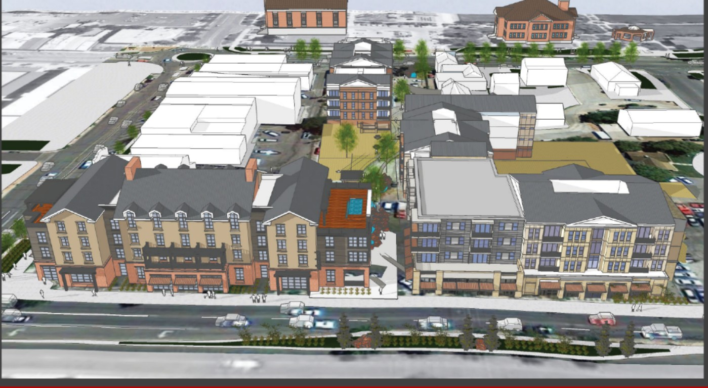 A rendering of the proposed mixed-use development proposed for downtown St. George at Main Street and St. George Boulevard | Image courtesy of Peg Development, St. George News